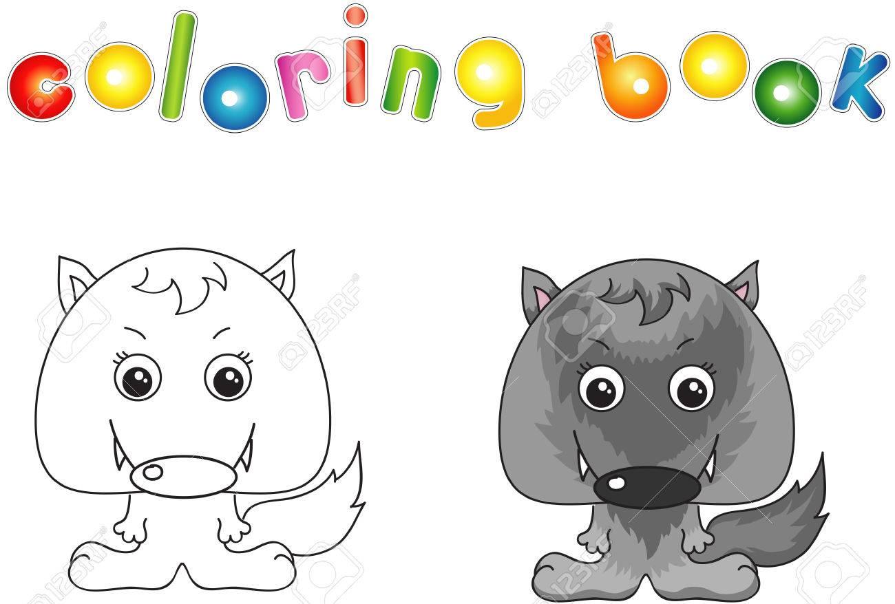 Lobo Divertido Y Lindo. Ilustración Vectorial Para Los Niños. Libro ...