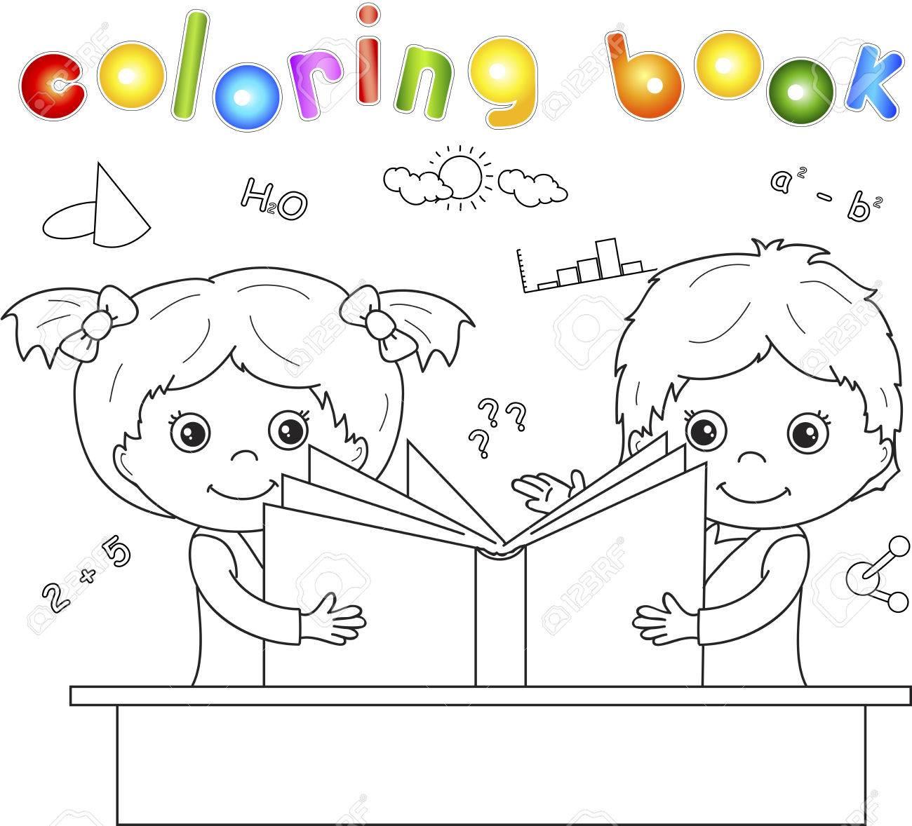 Дети читают книгу раскраски