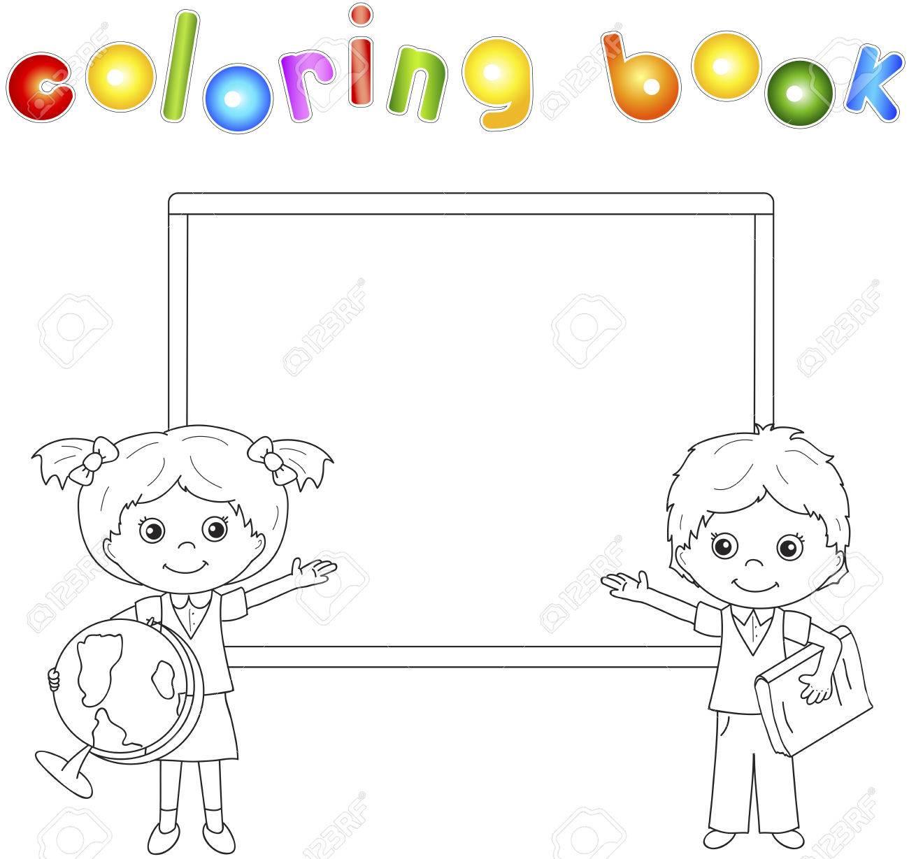 Niño Y Niña De Pie Cerca De La Pizarra En Un Aula Ilustración