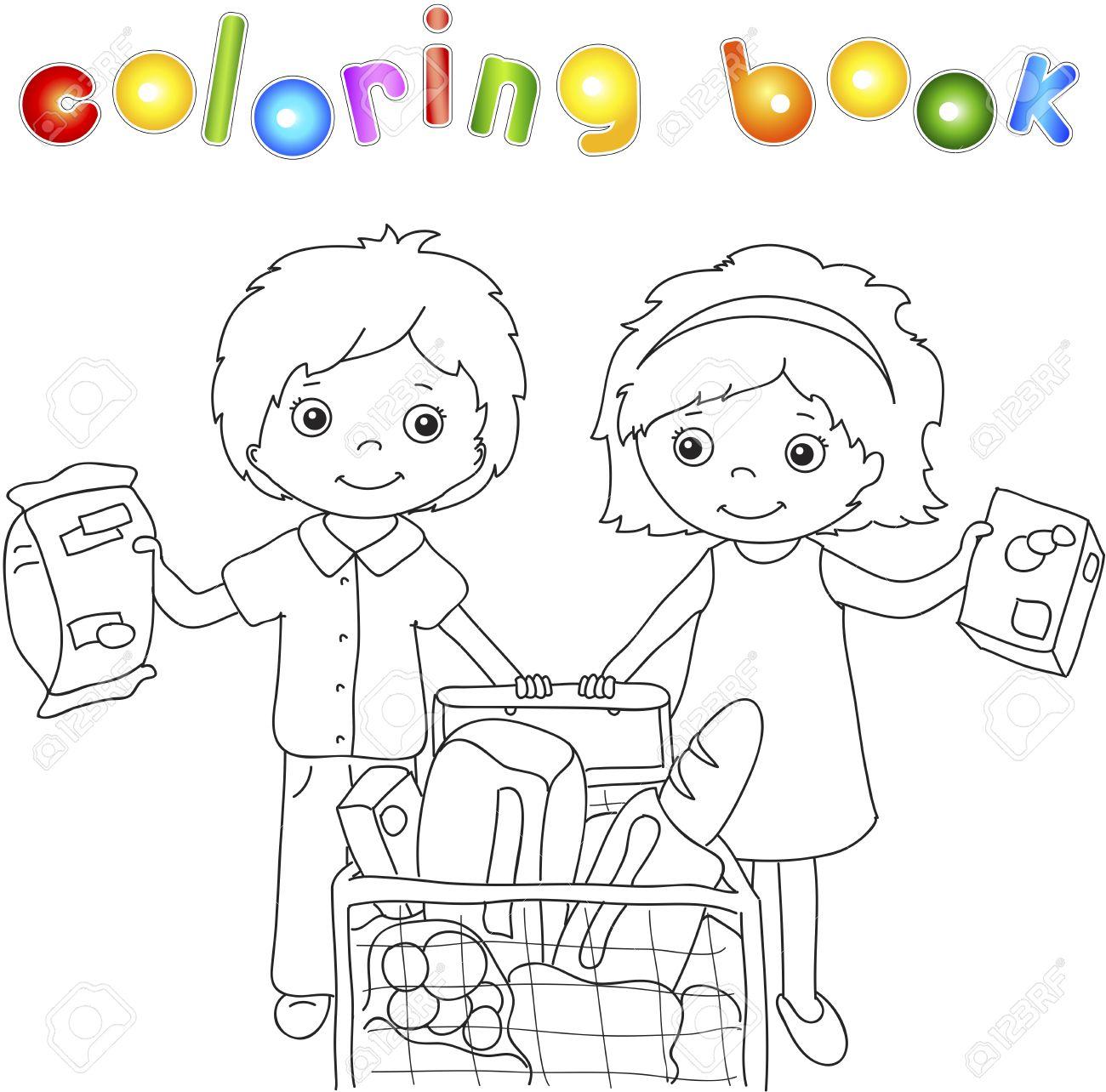 Un Niño Y Una Niña Están Haciendo Compras En Una Tienda. Libro Para ...