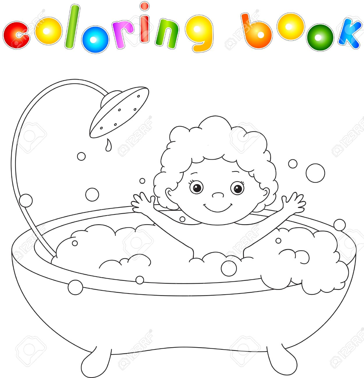 Сute toddler bathing in the bath with foam and laughing. Coloring..