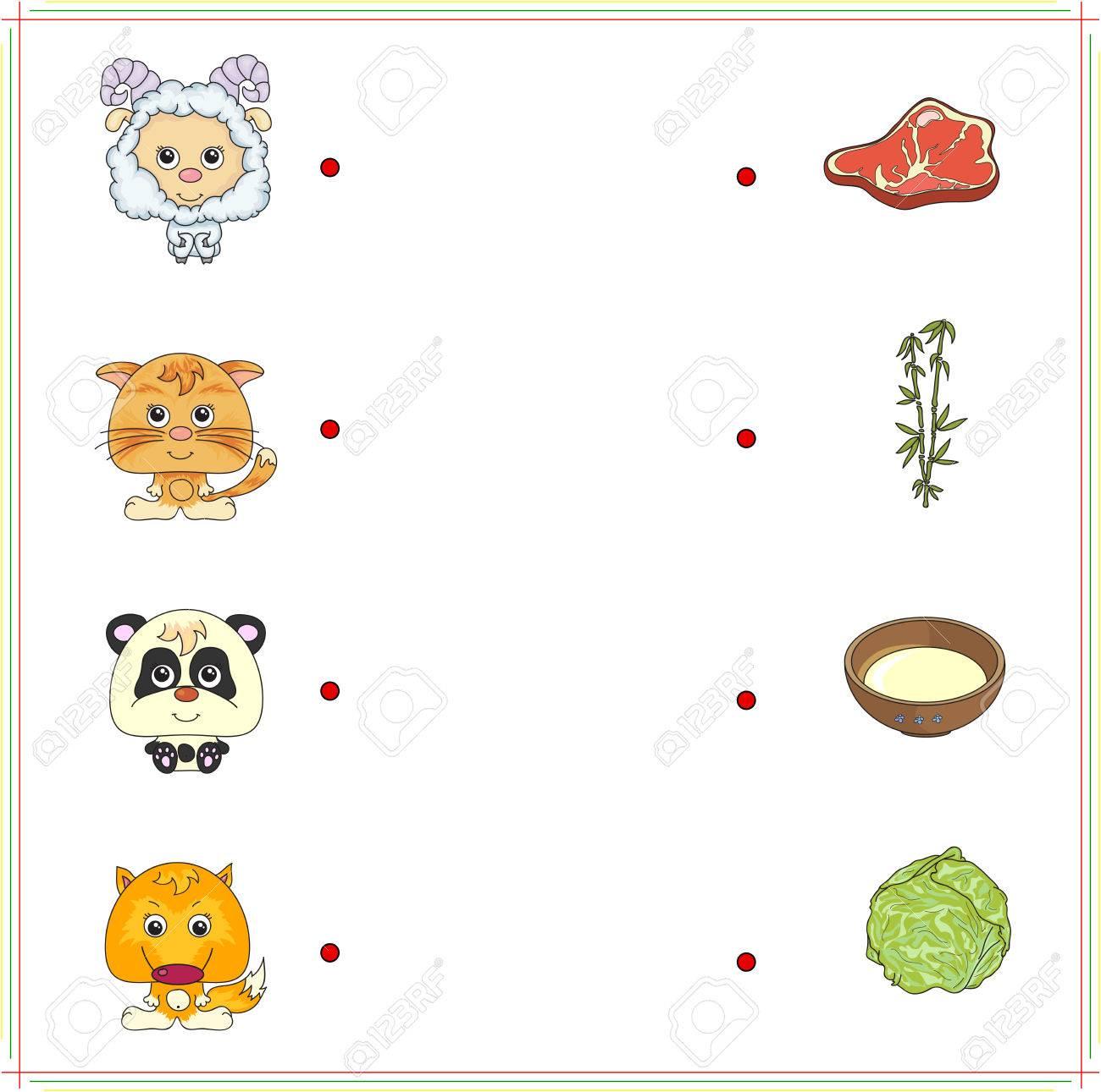 Lamb Kitten Panda Und Fuchs Mit Der Nahrung Fleisch Milch