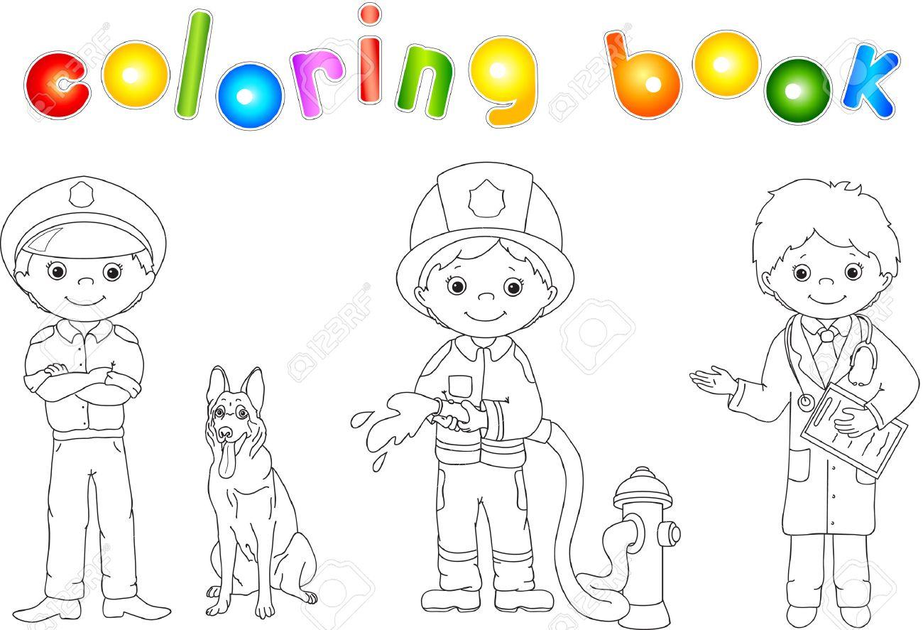 Policía, Bomberos Y Doctor En Su Uniforme. Libro Para Colorear ...