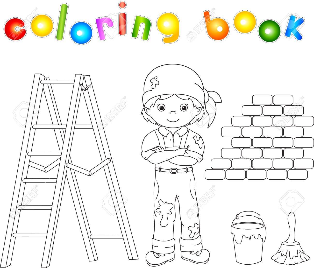 Pintor Con Un Mono Y Bandana Escalera Pincel Y Un Cubo De Pintura Libro Para Colorear Ilustración Vectorial