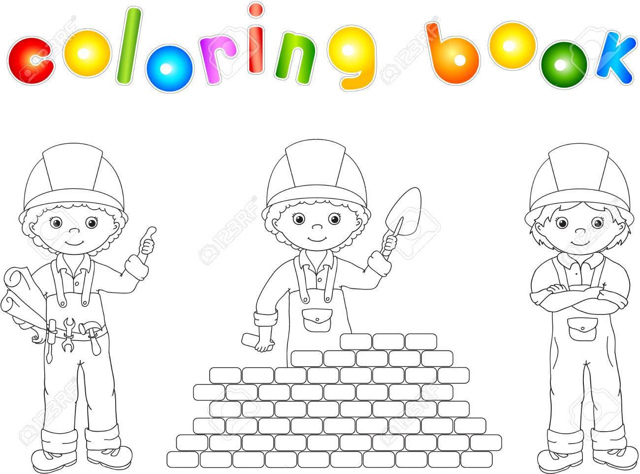 Trabajadores De La Construcción En Su Uniforme Libro Para Colorear