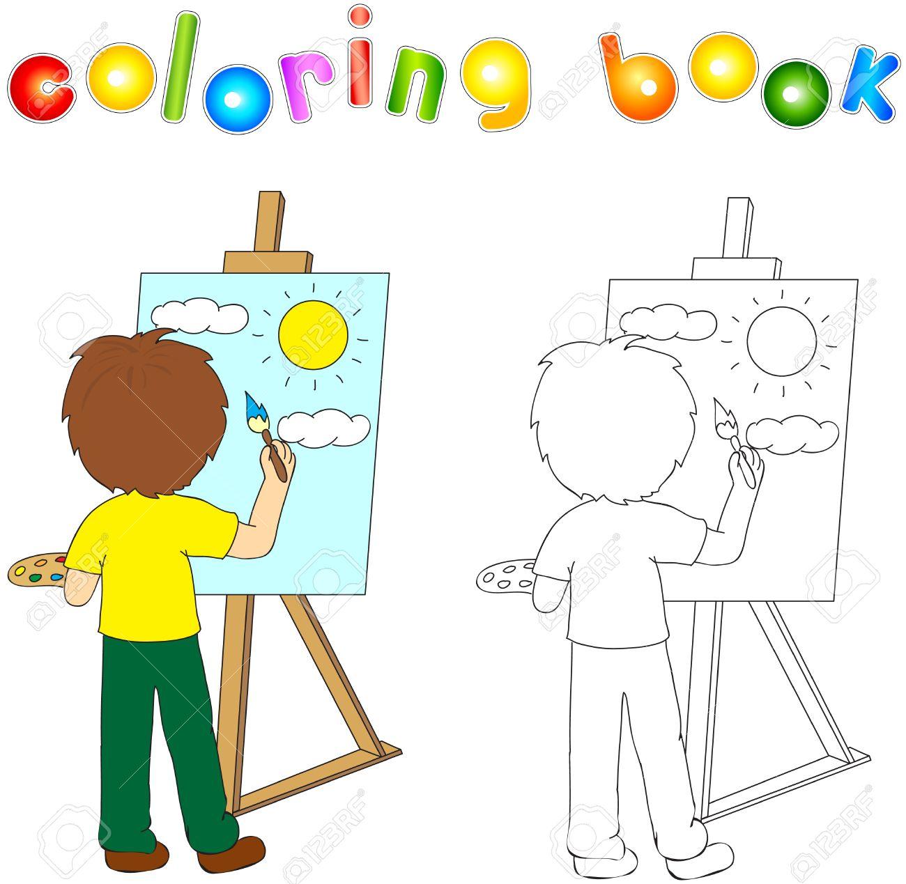 Garçon Avec Palette Et La Peinture Au Pinceau Sur La Toile L
