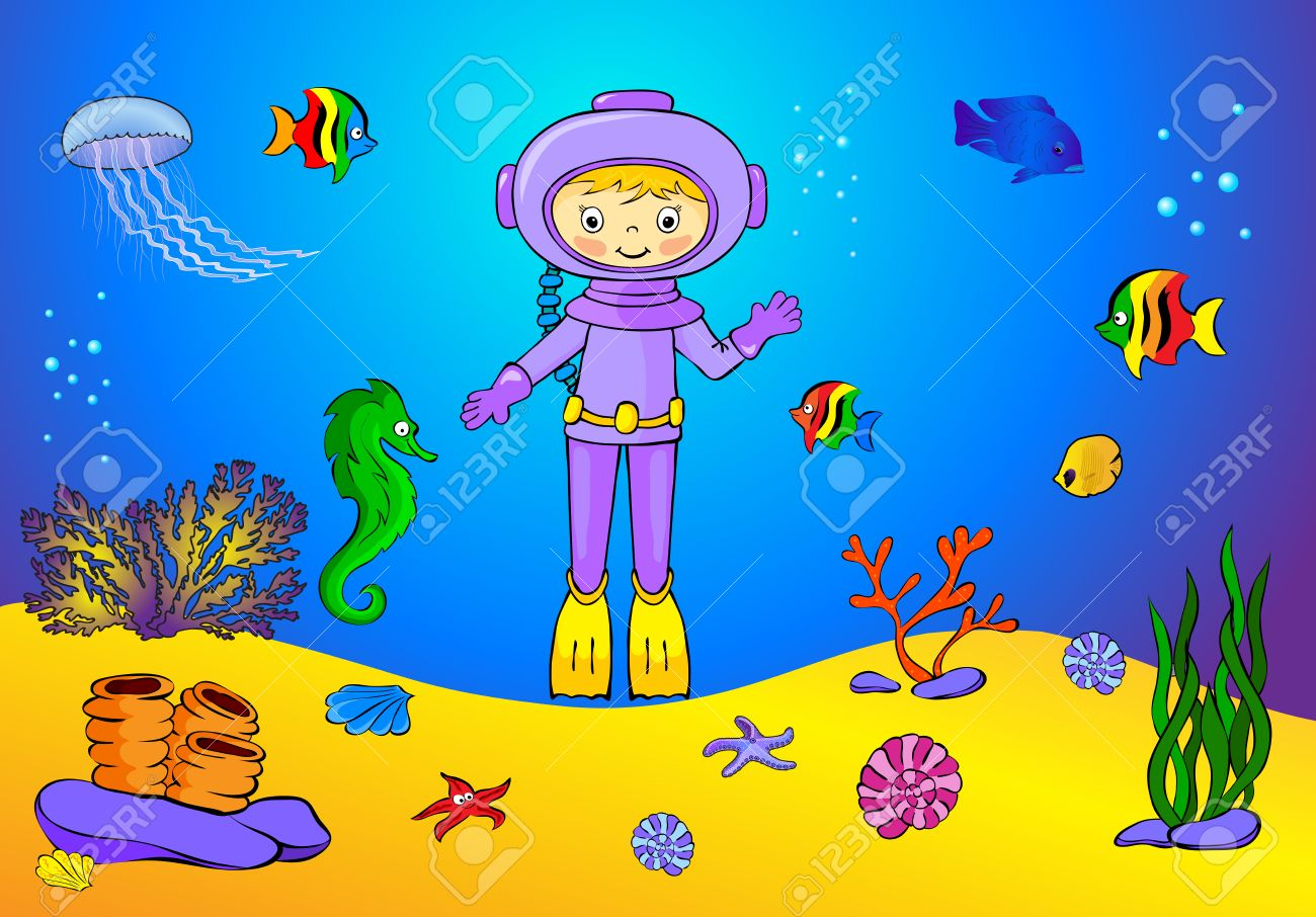 cute cartoon scuba diver and fish under water seahorse jellyfish