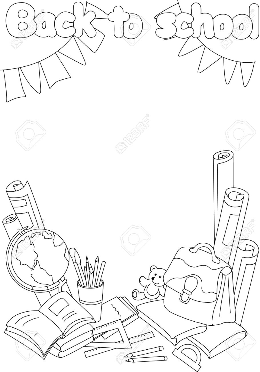 Retour Au Livre De Coloriage De L école études Avec Des Livres Des Cahiers Stylo Crayon Brosse Globe Du Papier Une Règle Et Sac à Dos Vector