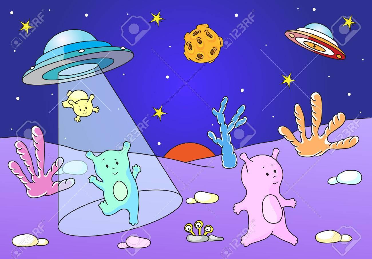 かわいい優しいエイリアン宇宙船から惑星の表面に着陸ベクトル図の