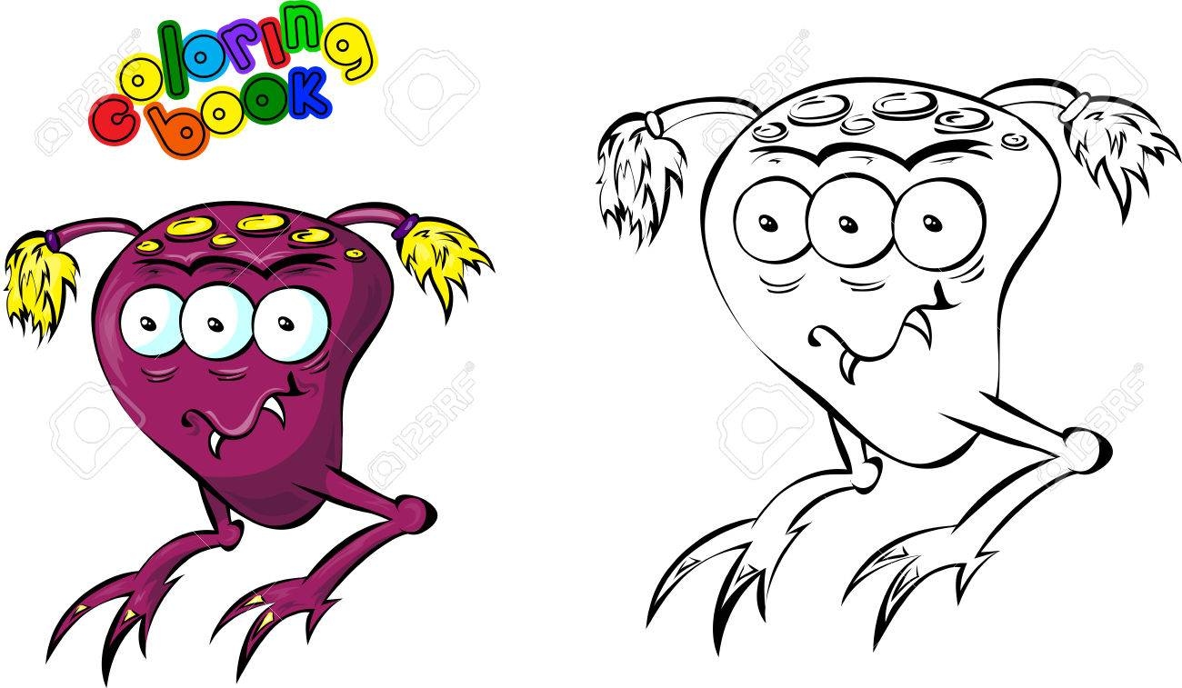 Cartoon Space Monster. Coloring Book Stock Photo, Picture And ...