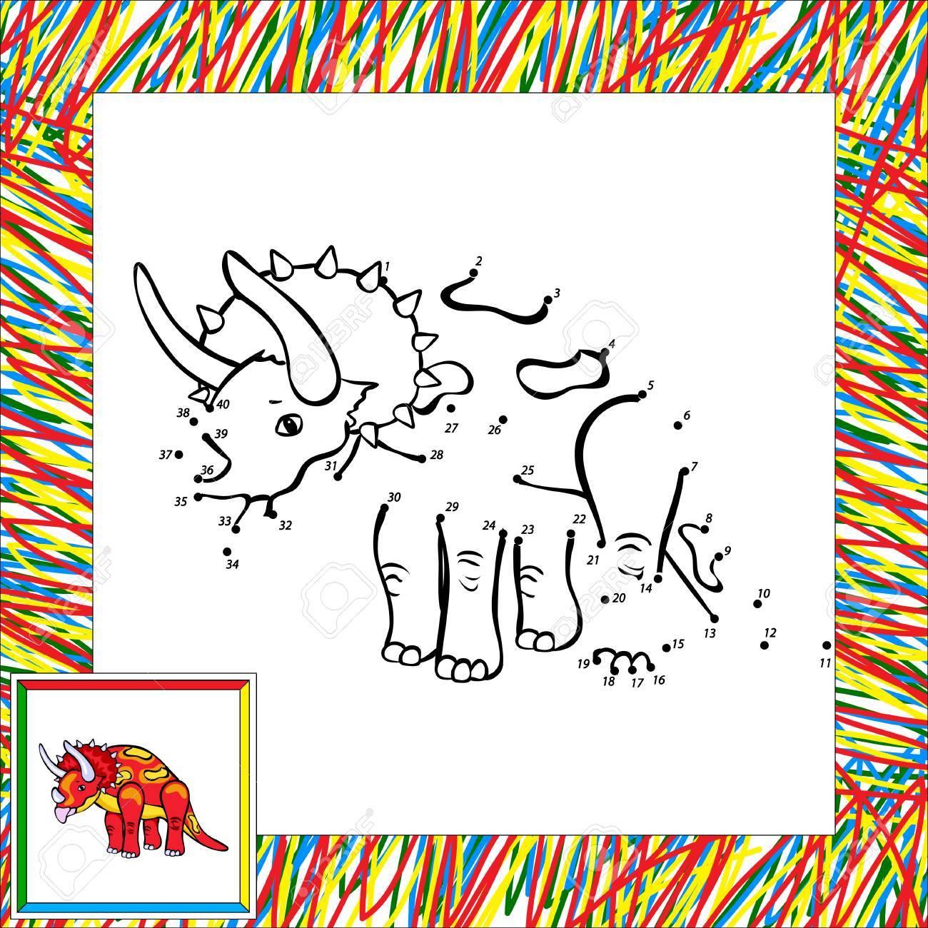 Lustige Karikatur Triceratops. Malbuch Für Kinder Malen Nach Zahlen ...