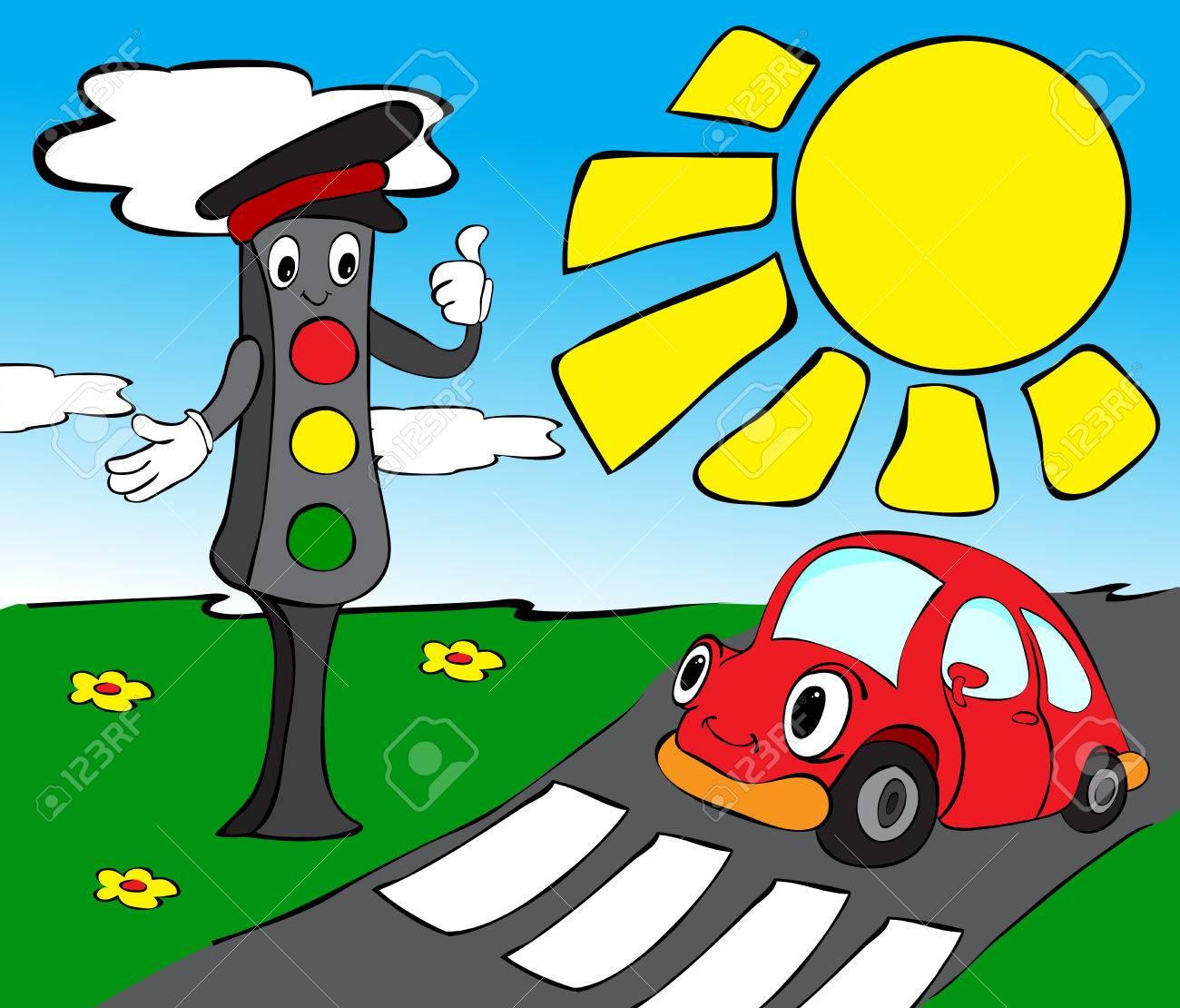 Red Auto Und Ampel Lustige Illustration Fur Kinder Lizenzfreie