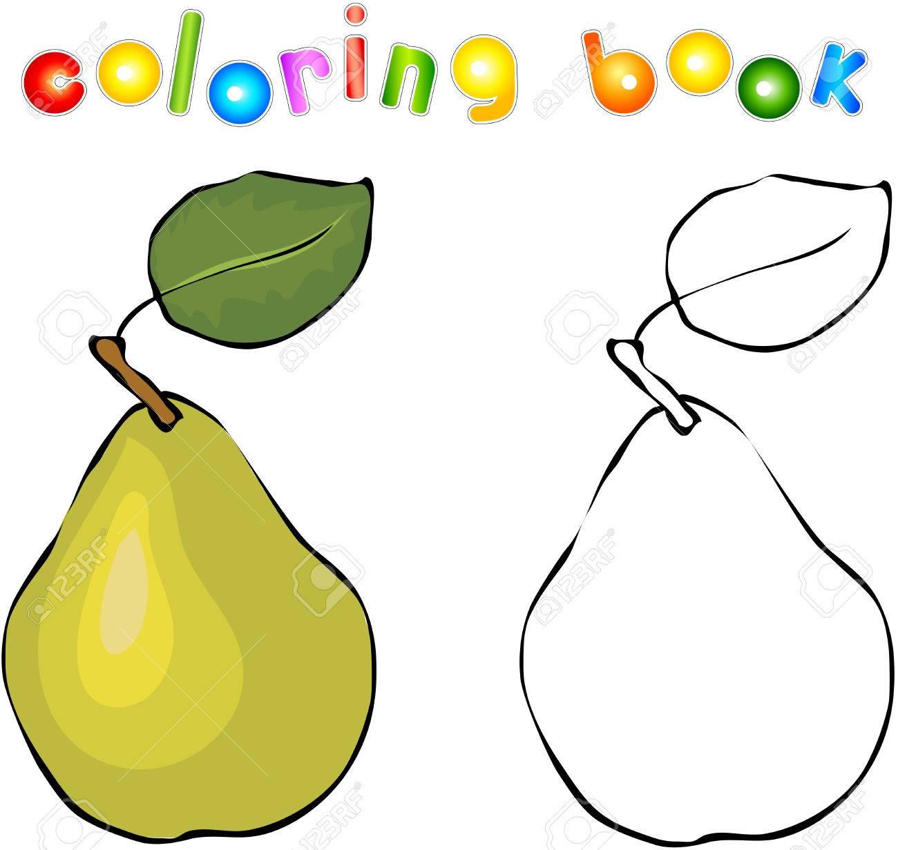Pera De La Historieta Libro Para Colorear Ilustración Para Los