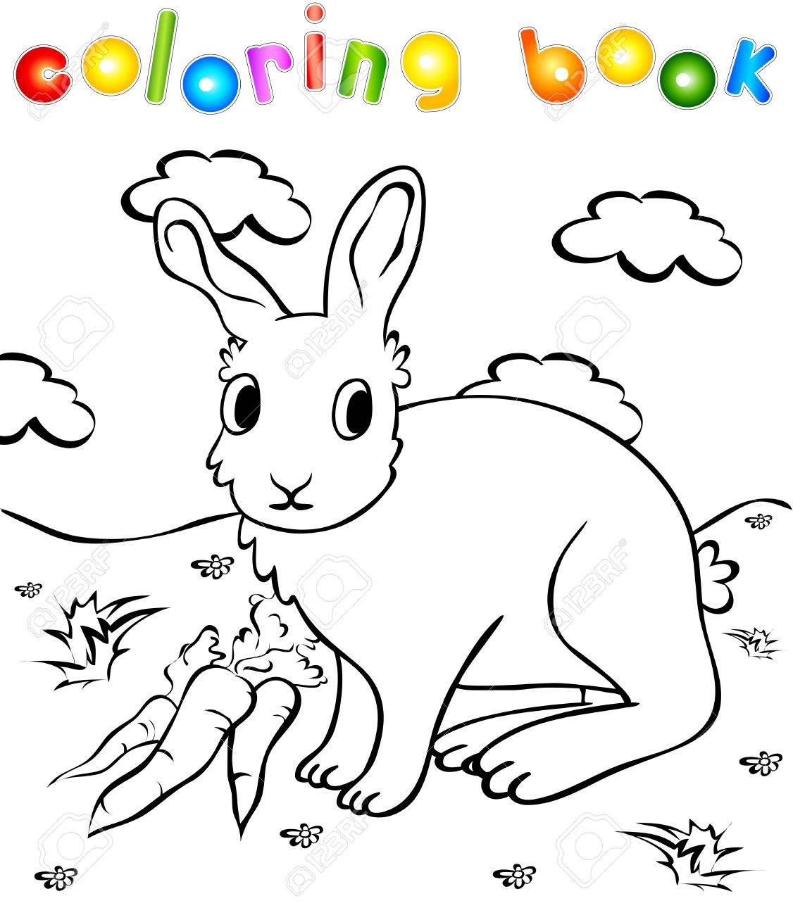 Conejo Divertido Con El Libro Para Colorear Las Zanahorias Ilustración Para Los Niños