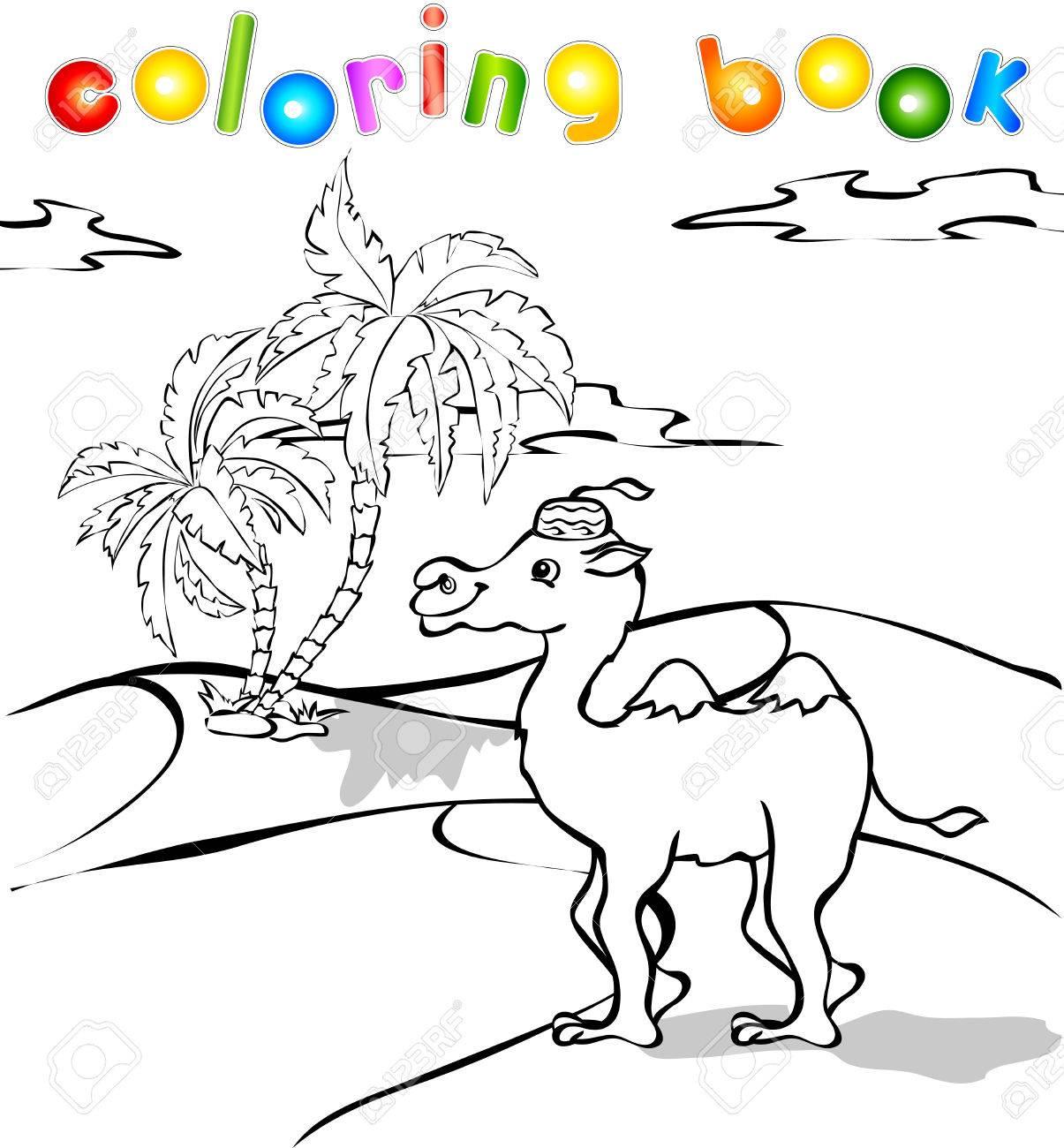 Camello Divertido De La Historieta En El Libro Para Colorear ...