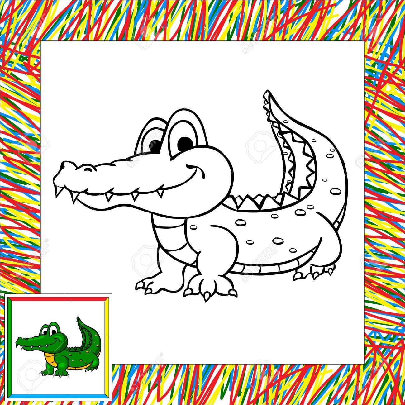 Divertidos Dibujos Animados De Libro Para Colorear Cocodrilo ...