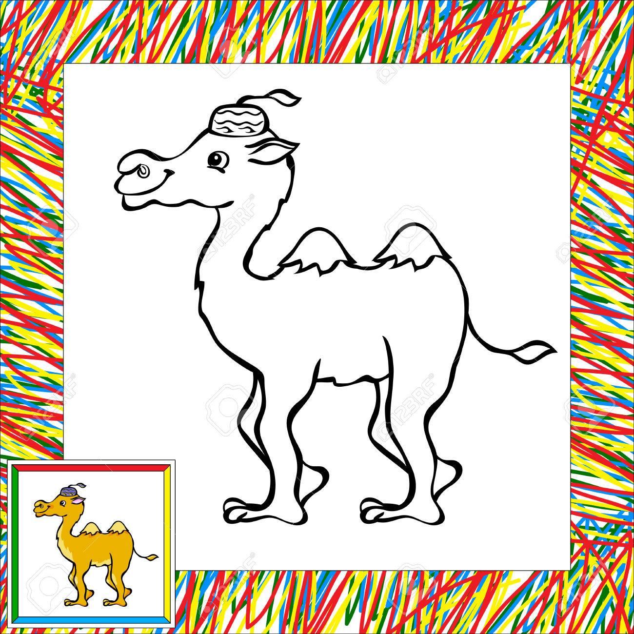 Camello De Dibujos Animados De Libro Para Colorear Con La Frontera ...
