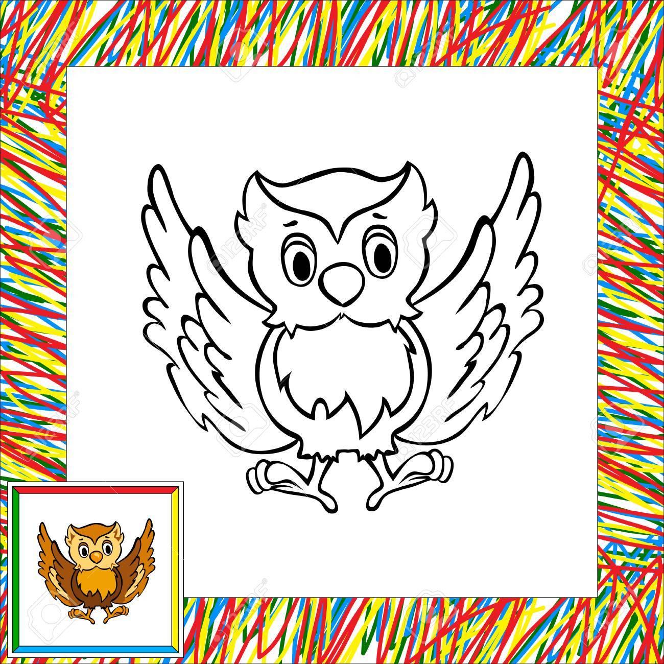 Búho Del Dibujo Animado De Libro Para Colorear Con La Frontera ...