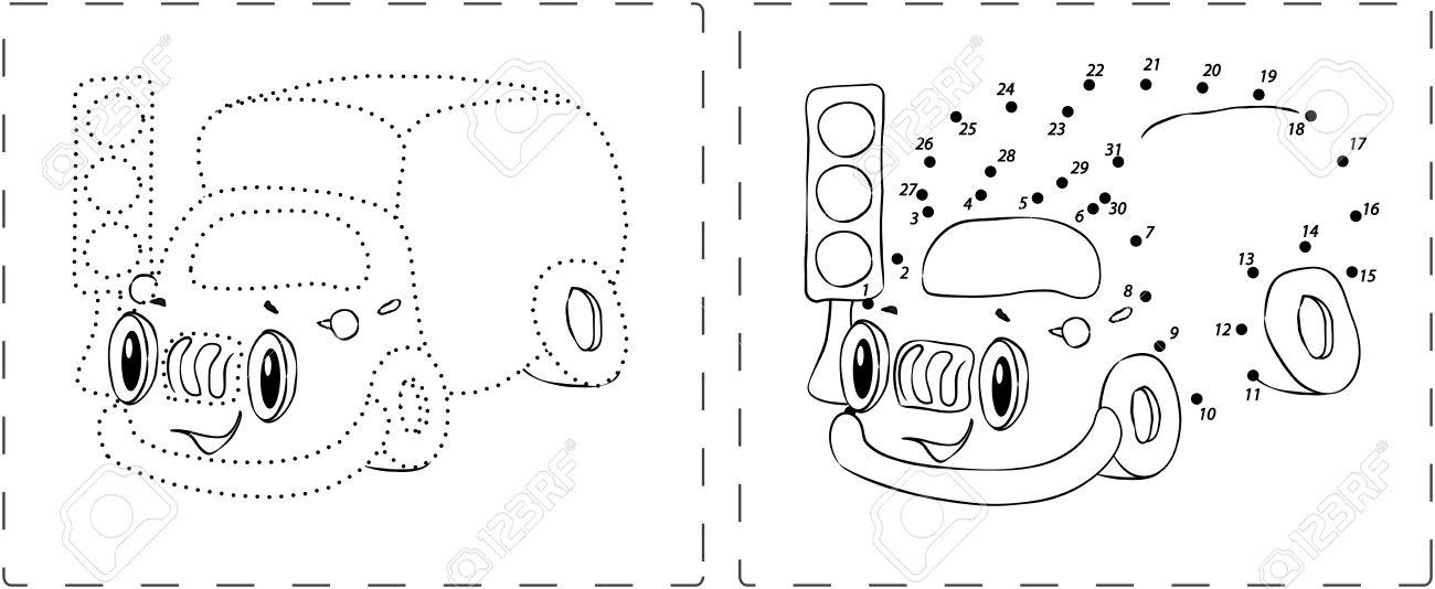 塗り絵ドットと数字を描画面白いトラック の写真素材画像素材 Image