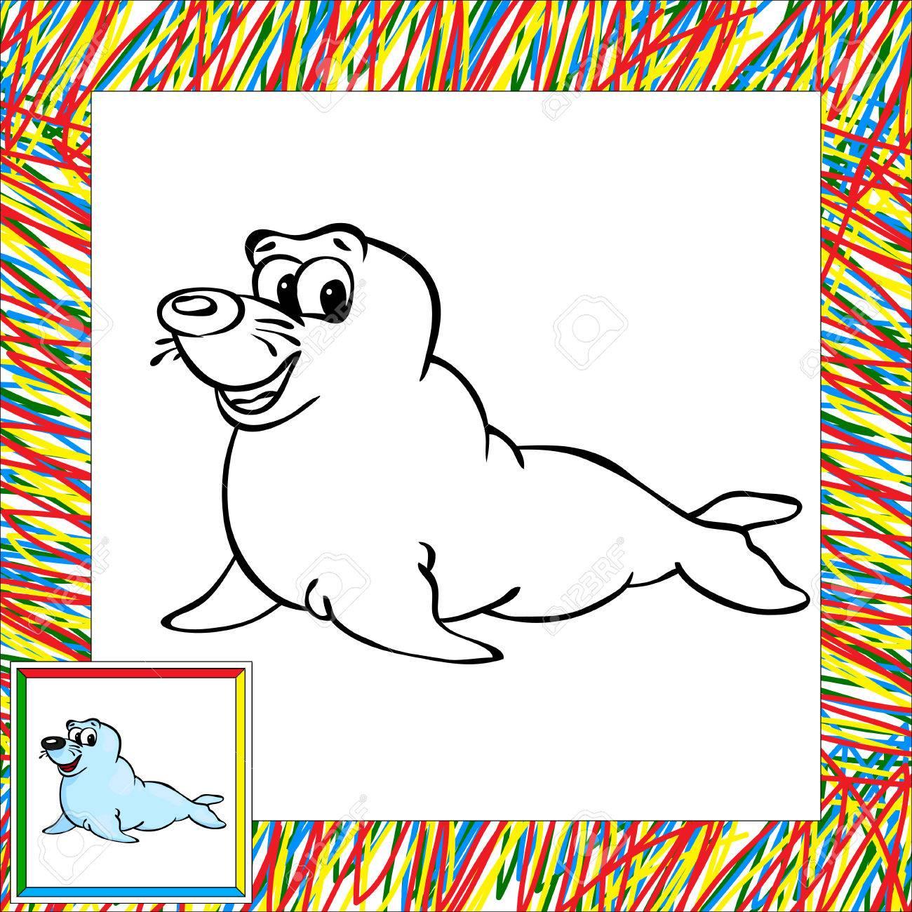 Pieles De Dibujos Animados De Libro Para Colorear Sello Con Border ...