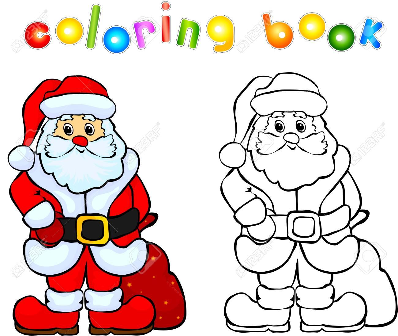 funny smiling santa claus coloring book illustration for children stock illustration 42567867 - Santa Claus Coloring Book