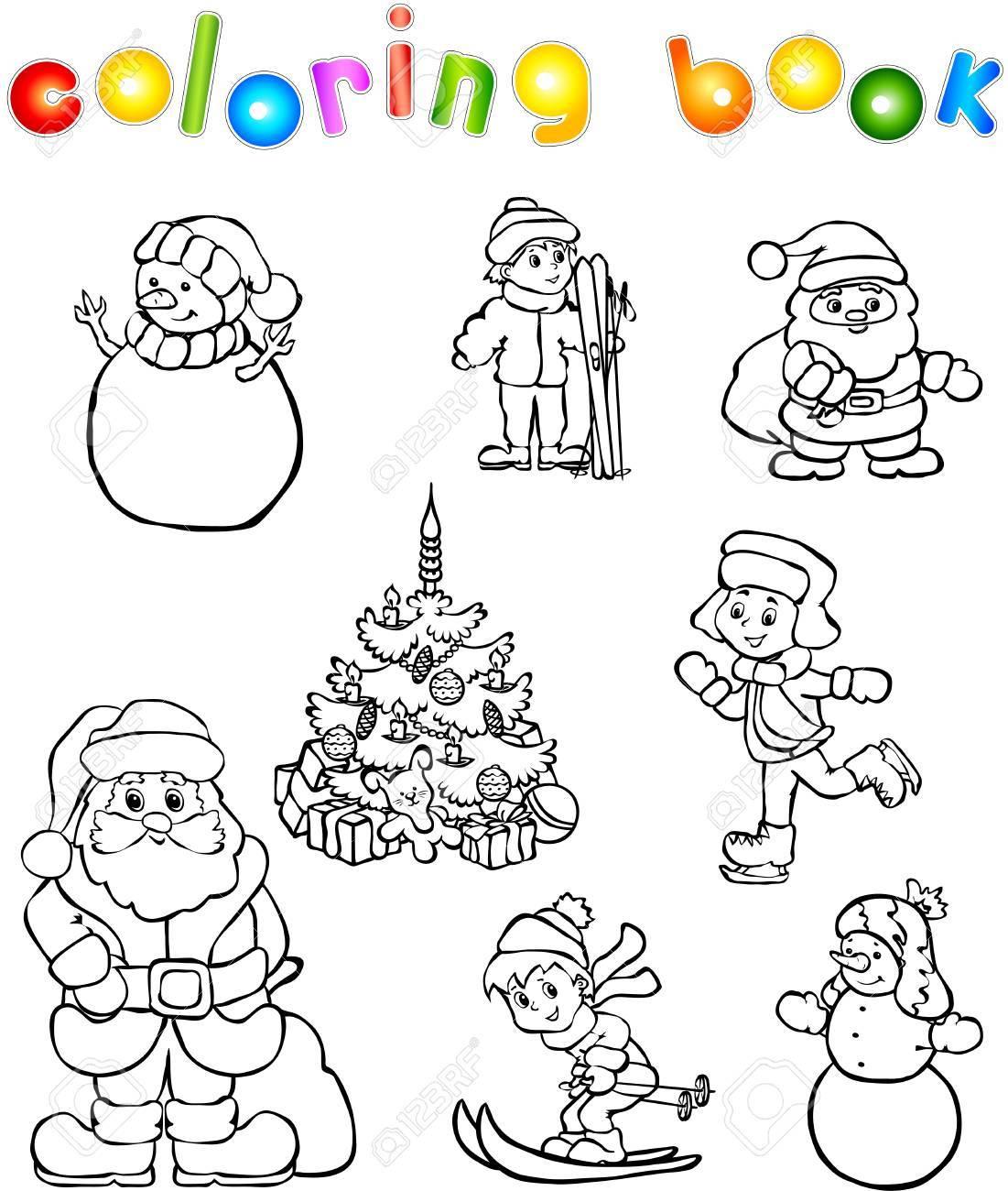 Navidad Y Ano Nuevo Libro Para Colorear Juego Ilustracion Para Los
