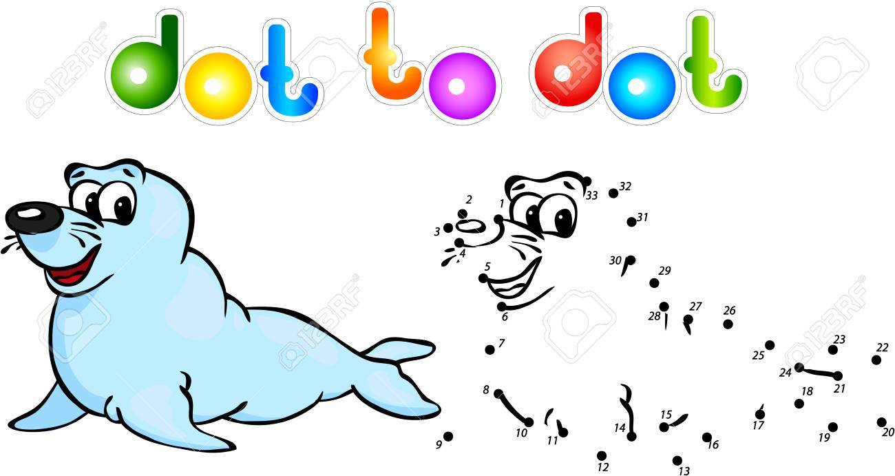 Funny Cartoon Fur Seal Dot To Dot Illustration For Child Stock