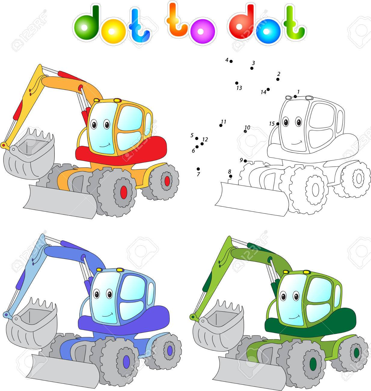 funny cartoon excavator connect dots and get image educational