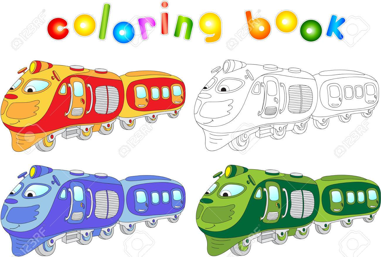Funny Cartoon Train Coloring Book For Children Vector Illustration Royalty Free Cliparts Vectors And Stock Illustration Image 43676942
