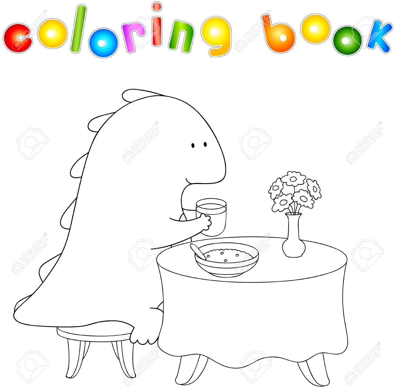 Dragon Ventre Crummy Mange Son Petit Déjeuner Gruau Et De Jus Coloriage Livre Sur Mode De Vie Sain Pour Les Enfants Vector Illustration Pour Les