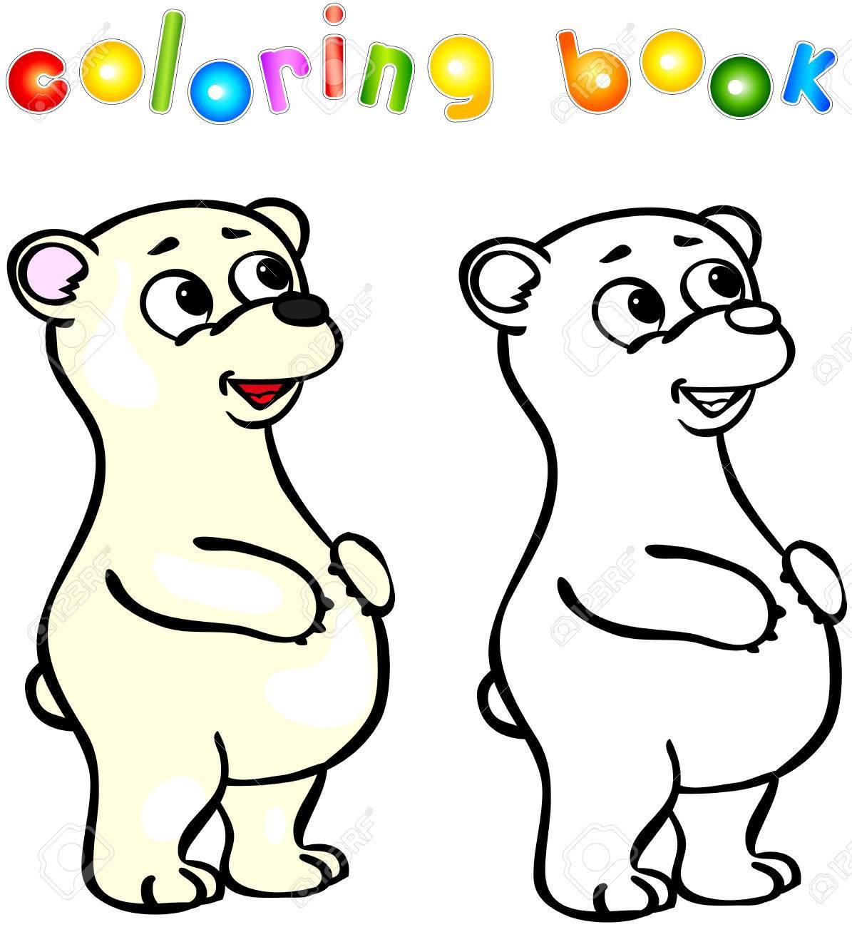 Divertidos Dibujos Animados Oso Polar Libro Para Colorear ...