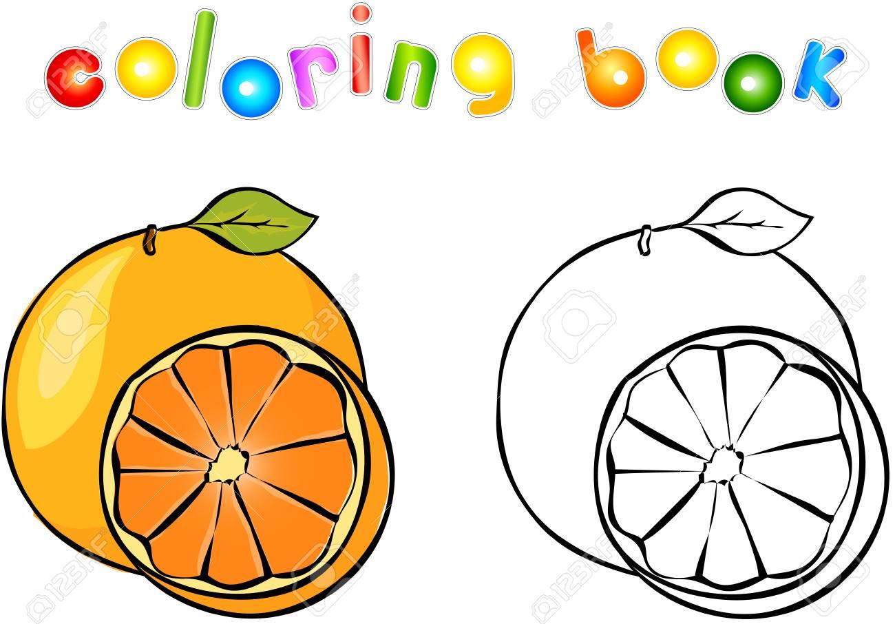De Dibujos Animados De Libro Para Colorear De Naranja Ilustración