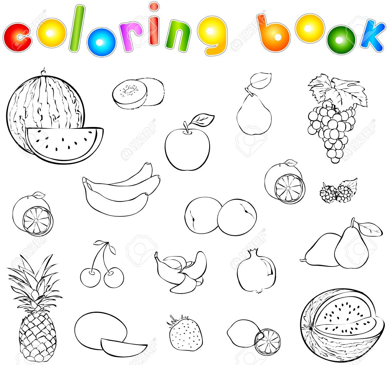 Set Of Fruits And Berries Coloring Book Vector Illustration Stock