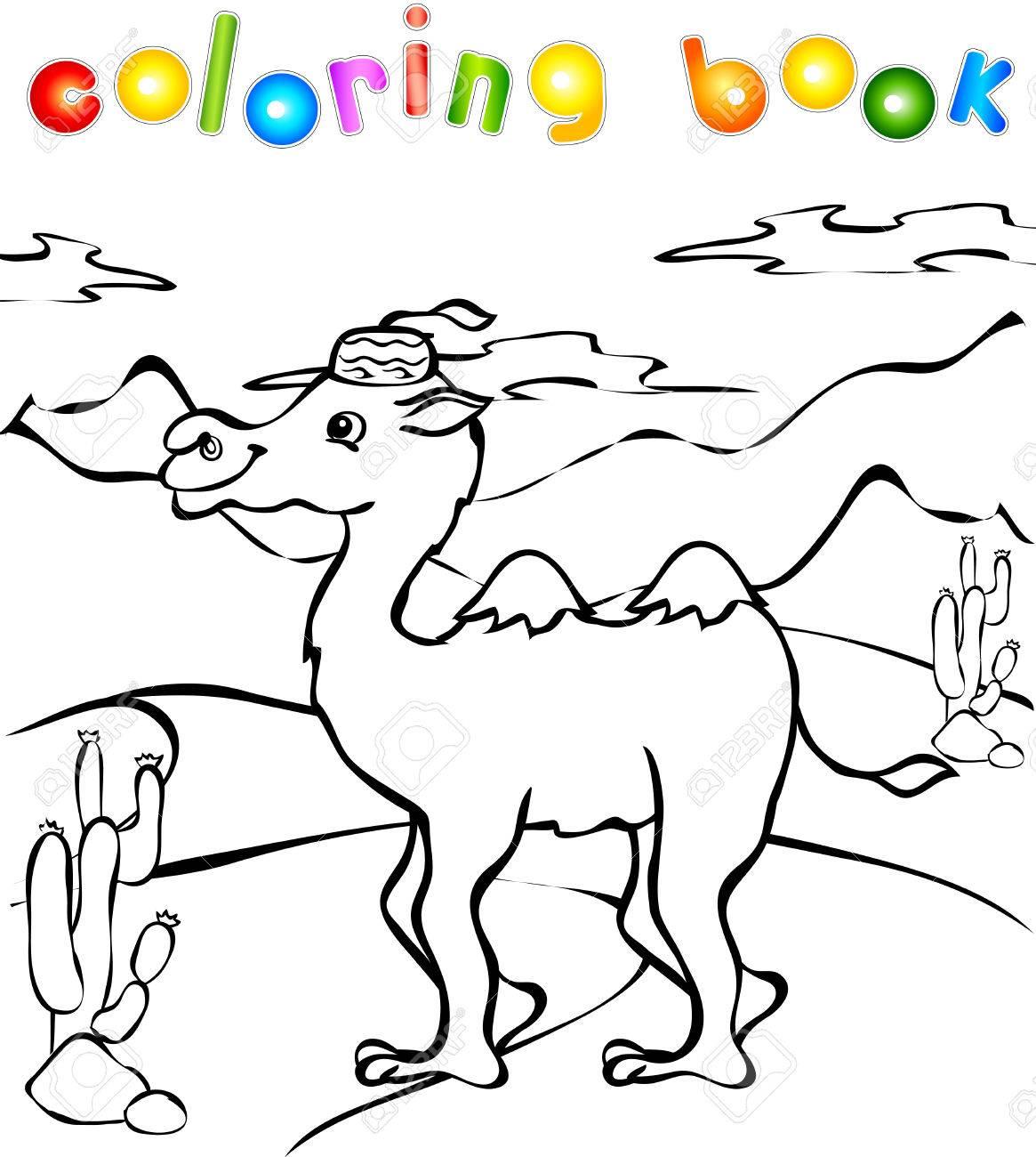 Camello Divertido En El Libro Del Desierto Para Colorear ...