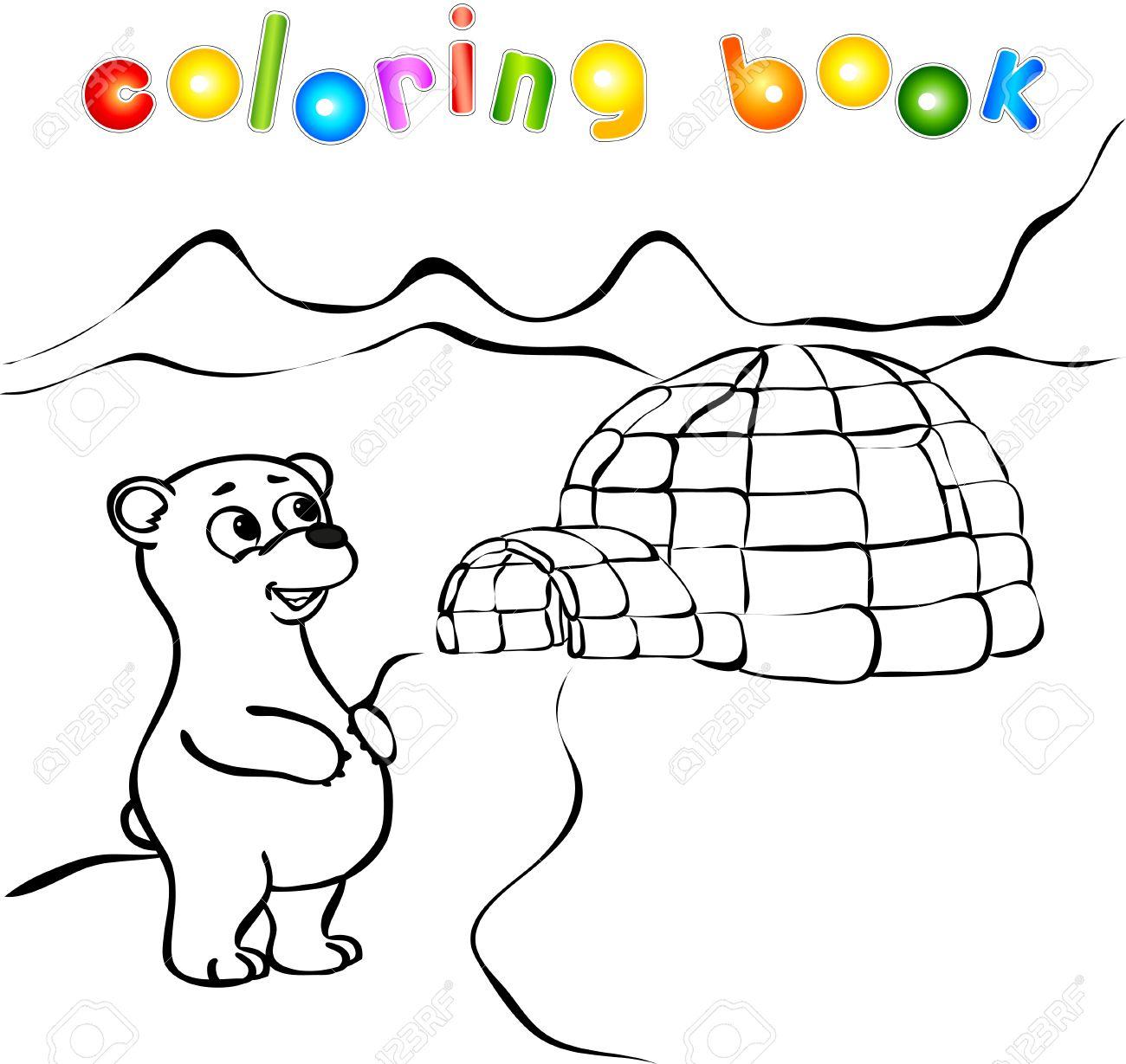 oso polar yurta de hielo para colorear igl ilustracin vectorial foto de archivo