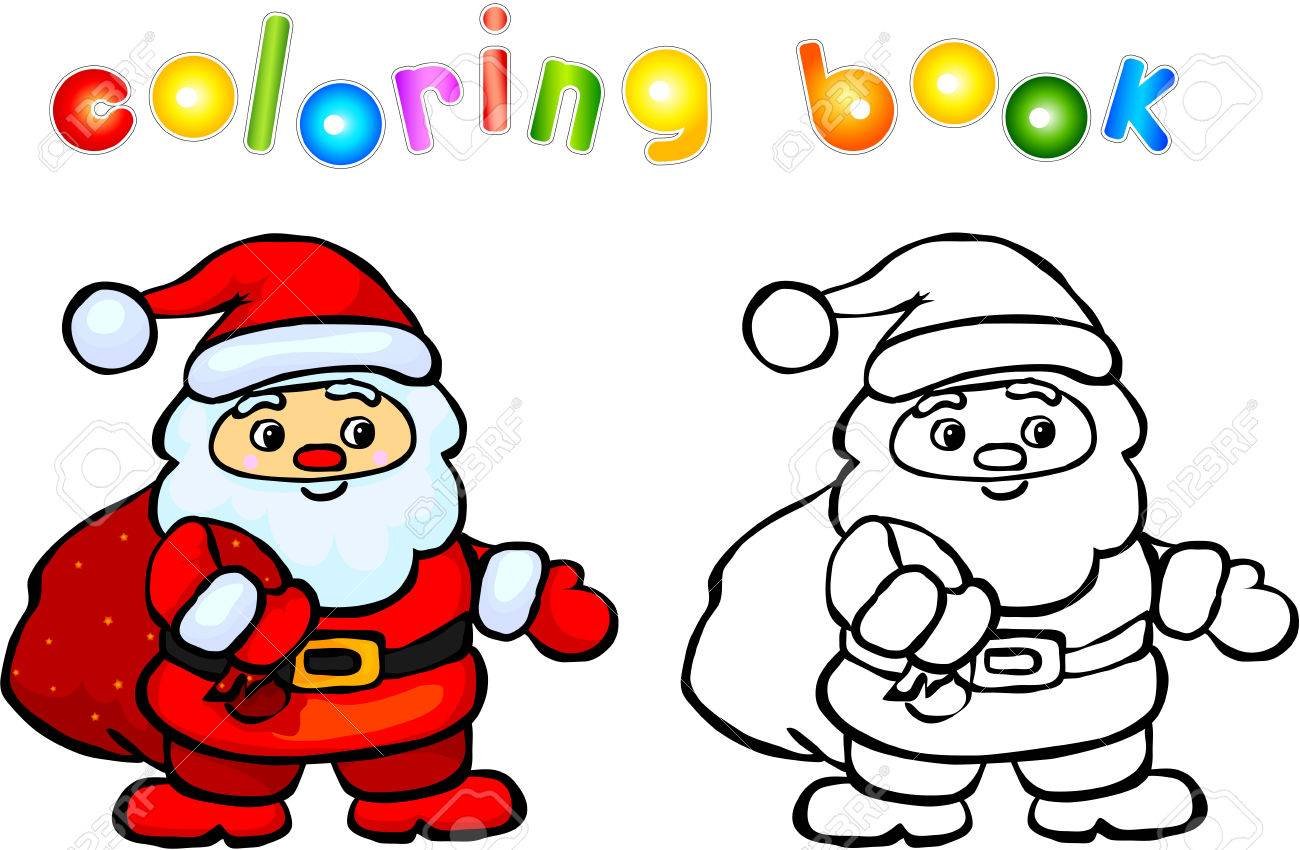 funny cartoon santa claus coloring book vector illustration for children stock vector 44303345