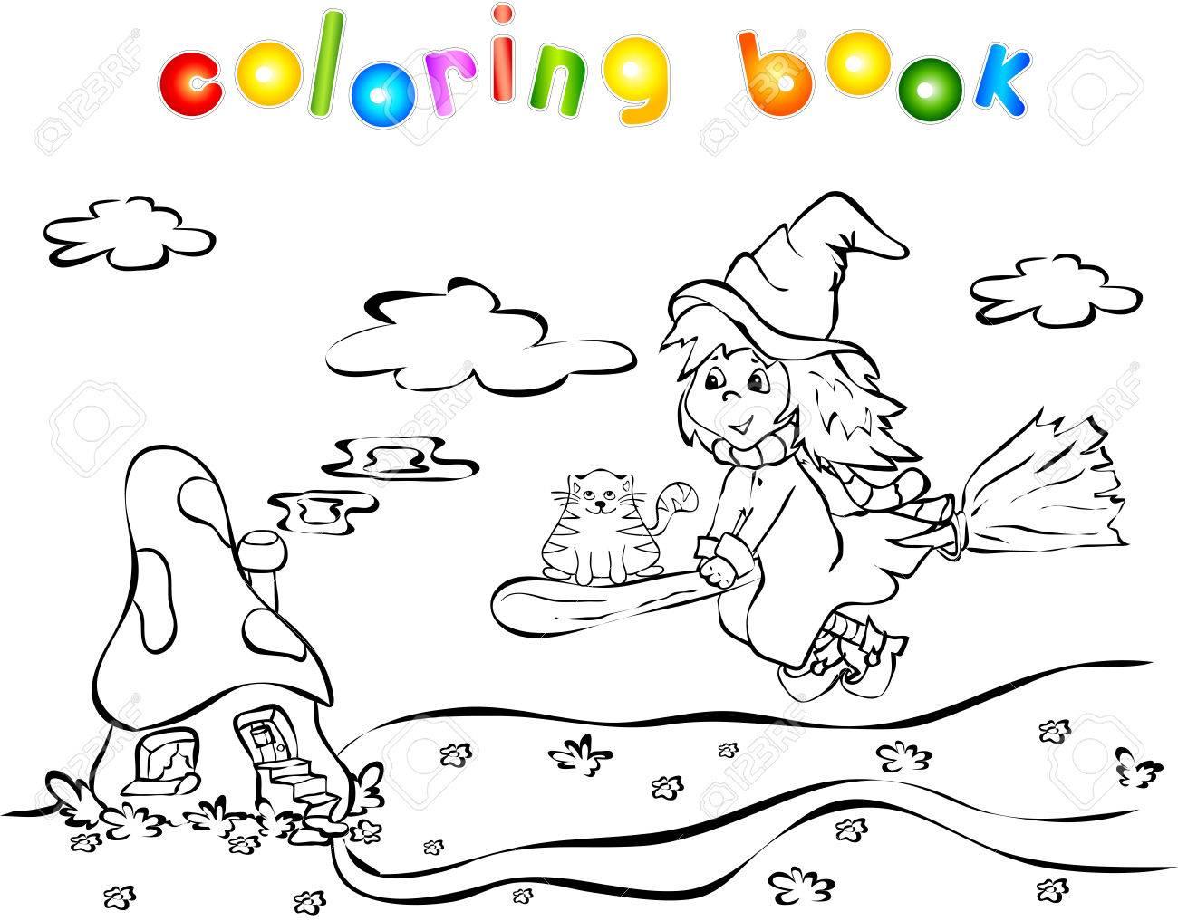 Bruja Del Vuelo Y La Casa De La Seta. Libro Para Colorear Para Los ...