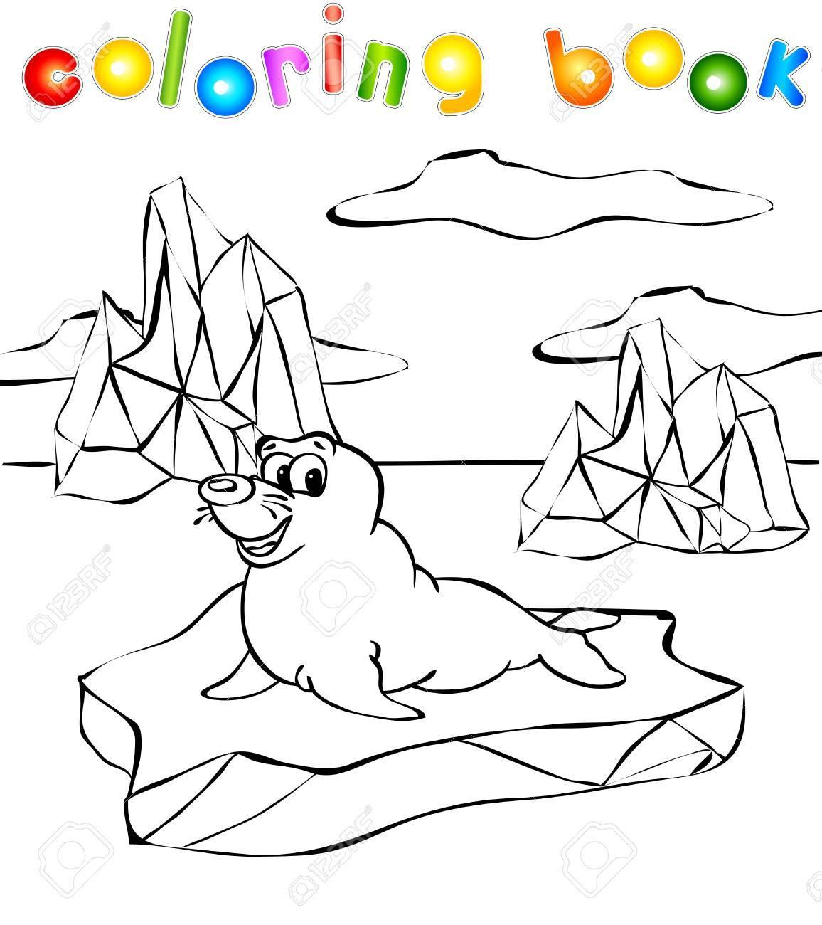 Lobo Marino En El Libro De Colorear Iceberg. Ilustración Del Vector ...