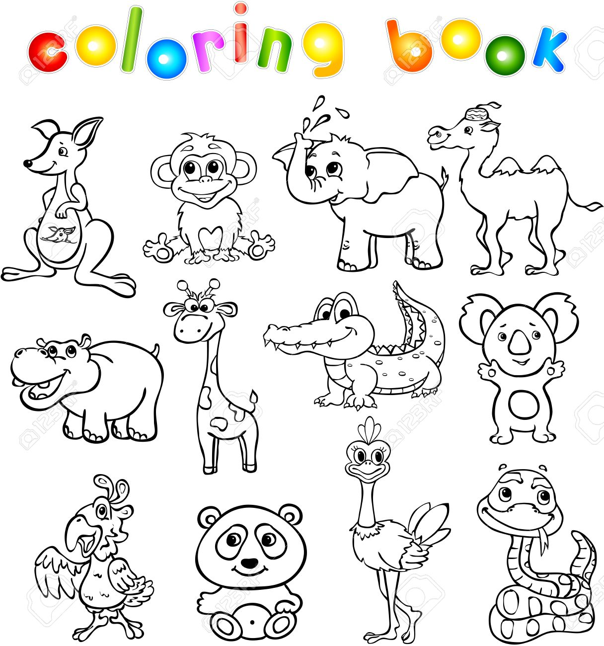 set of wild animals third for children coloring book stock vector 44303675 - Children Coloring Book