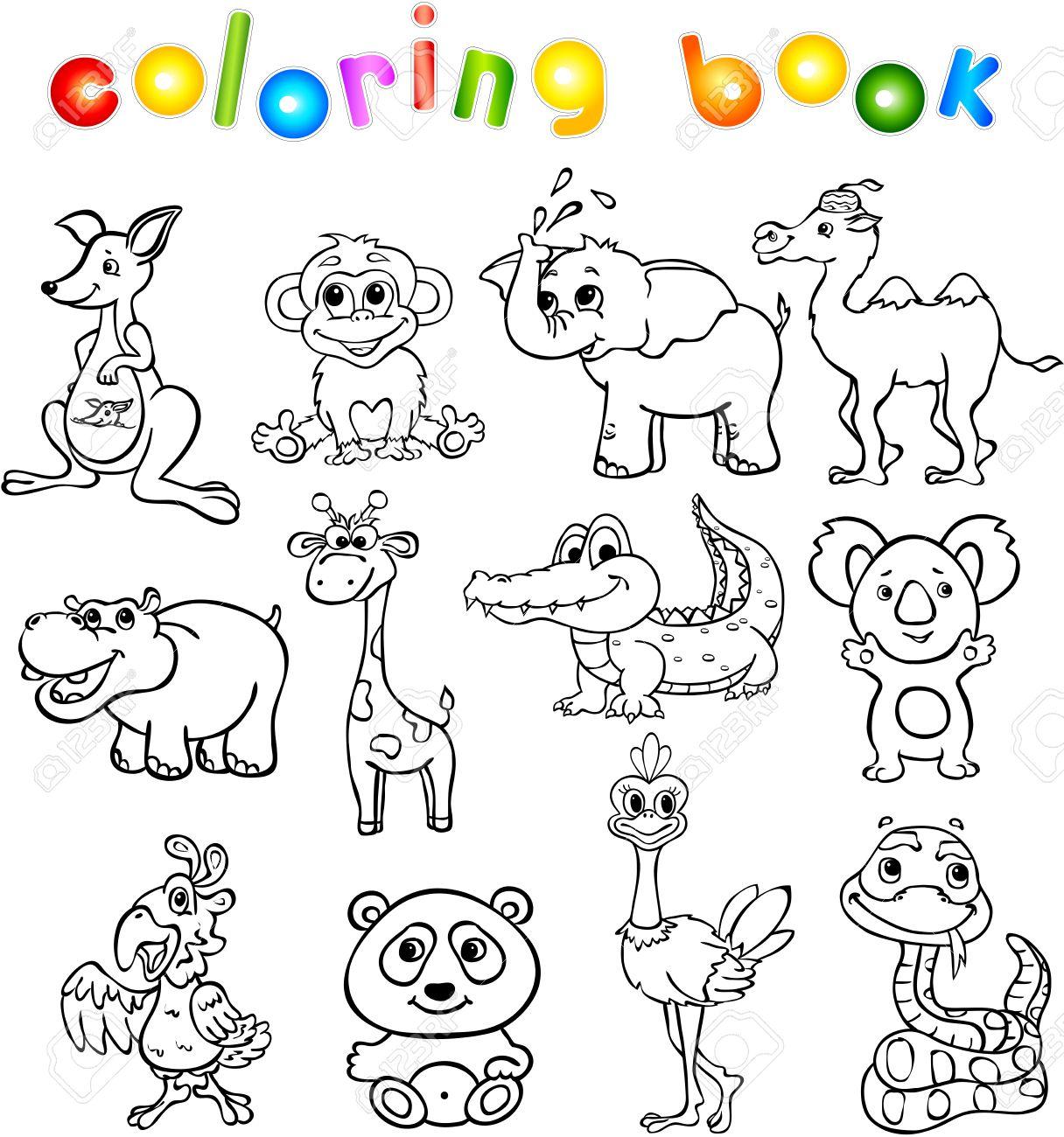 Conjunto De Animales Salvajes Tercero Para Los Niños. Libro De