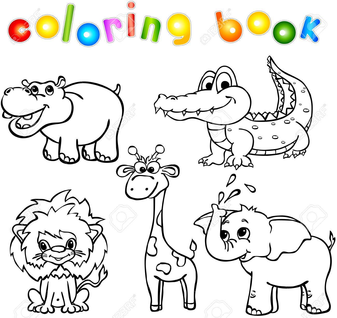 Conjunto De Animales Salvajes Primero. Libro Para Colorear Para