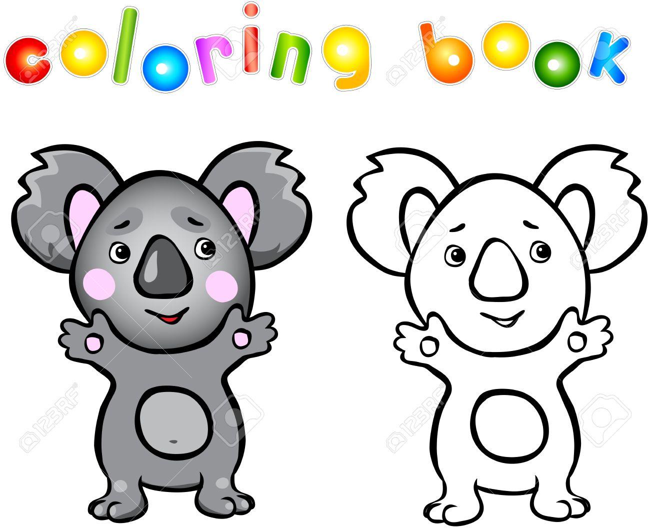 Libro Para Colorear Koala De Dibujos Animados Divertido Ilustración Del Vector Para Niño