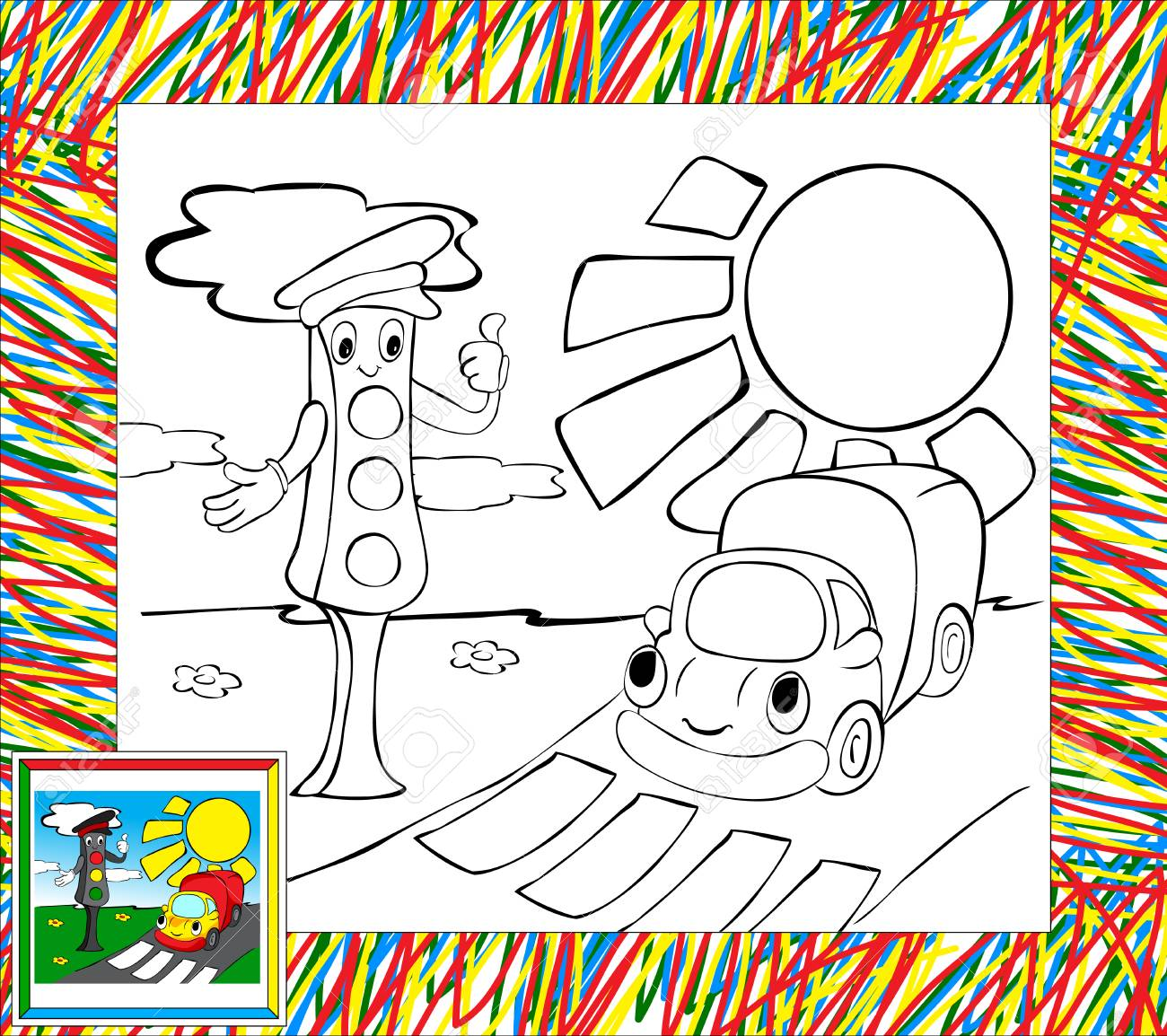 Coloring Book With Border. Funny Lorry And Traffic Lights Royalty ...