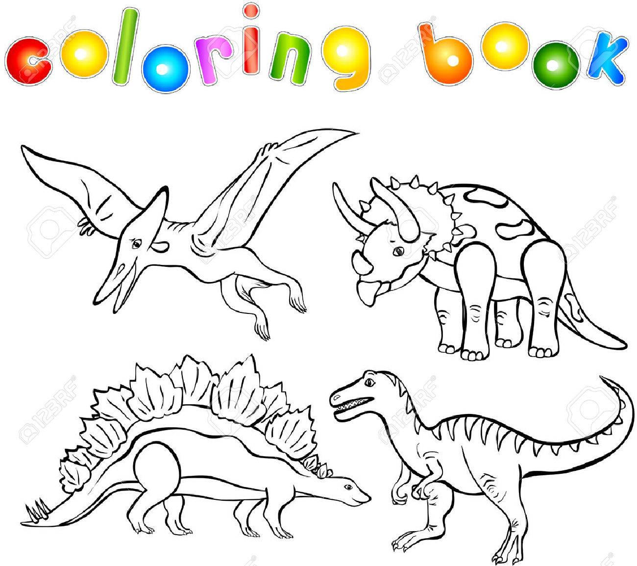 Funny Cartoon Dinosaurs Second Set Coloring Book Stock Vector