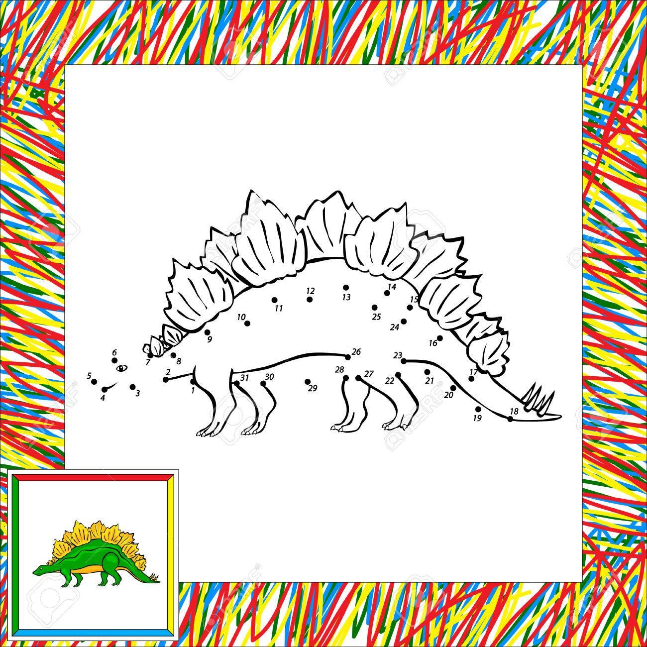Stegosaure Drole De Dessin Anime Livre A Colorier Pour Les