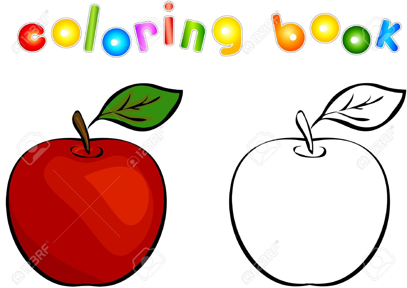 Manzana De Dibujos Animados De Libro Para Colorear. Ilustración ...