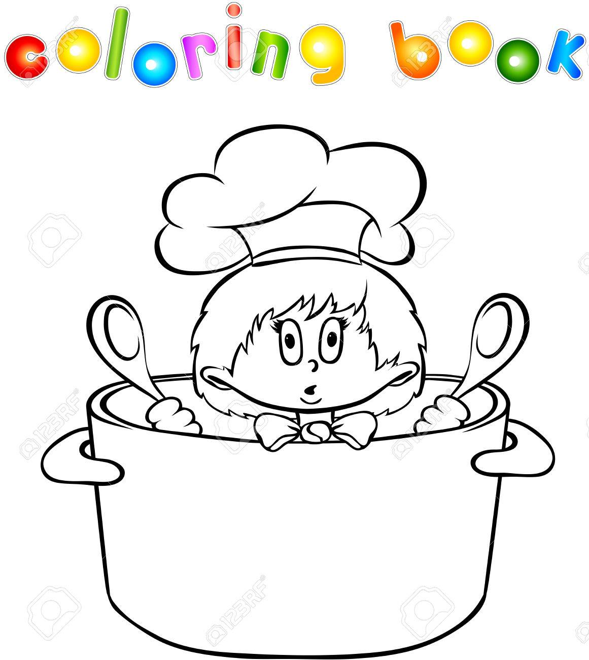 Coloring book kitchen - Funny Surprised Kitchen Boy Coloring Book Vector Illustration Stock Vector 44304152