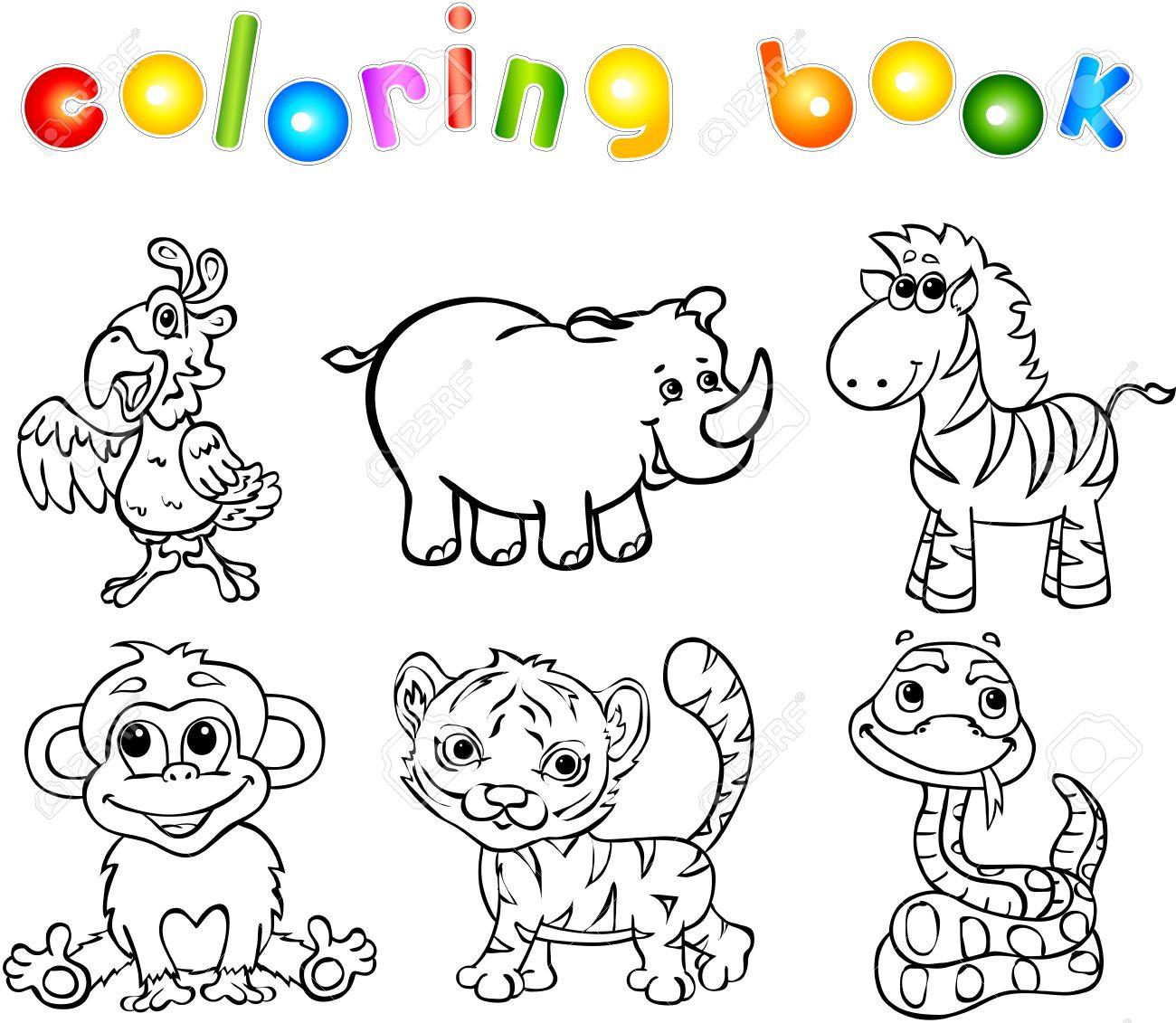Conjunto De Animales Salvajes Segundos. Libro Para Colorear Para