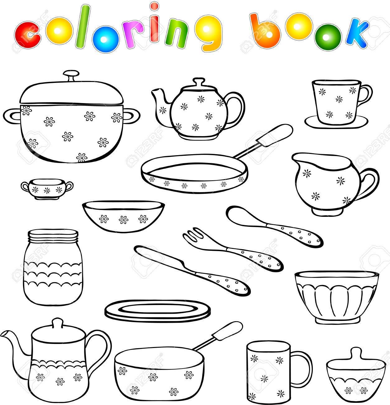 Vajilla Y Utensilios De Cocina Para Colorear Ilustración De Vector