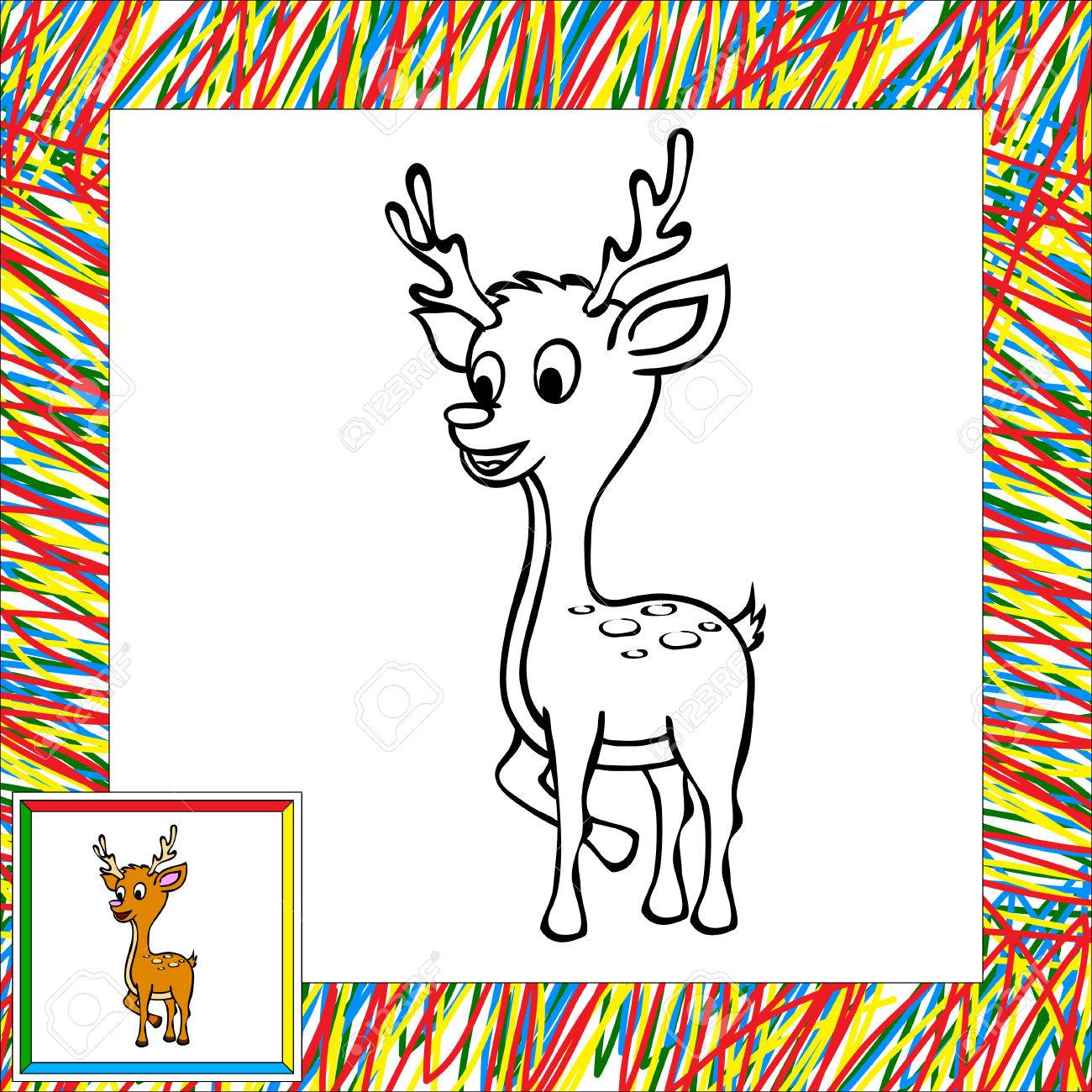 Ciervo De Dibujos Animados De Libro Para Colorear Con La Frontera ...
